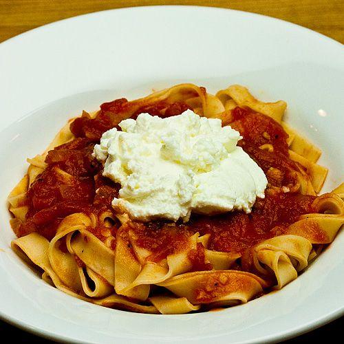 Tagliatelle With Tomato Sauce And Ricotta